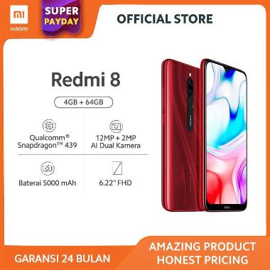 harga Redmi 8 (4GB+64GB) 12MP+2MP AI Dual Kamera Snapdragon 439 Fingerprint Baterai 5000mAh - Garansi Resmi Saphire Blue Blibli.com