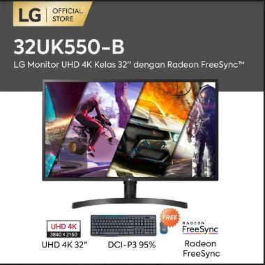 harga LG 32UK550-B UHD 4K Monitor with Radeon FreeSync [32 Inch] + Free Logitech MK275 Blibli.com