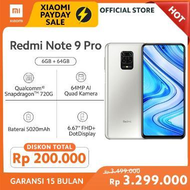 Xiaomi Redmi Note 9 Pro Smartphone [64/GB/ 6 GB/ Garansi Resmi Xiaomi]