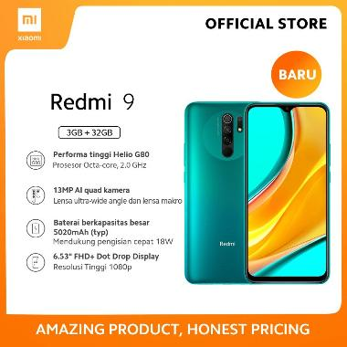 harga Xiaomi Redmi 9 (3GB+32GB) 13MP Quad Kamera Helio G80 Layar 6.53 FHD+ Baterai 5020mAh Garansi Resmi Green Blibli.com