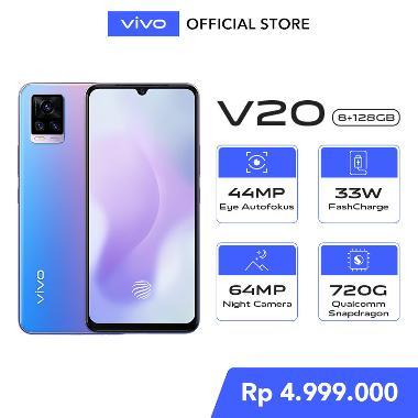 harga Vivo V20 8GB/128GB - 44MP Eye Autofocus, Qualcomm® Snapdragon™ 720G, NFC + Free Exclusive Gift Box only on 14 - 17 January Sunset Melody Blibli.com