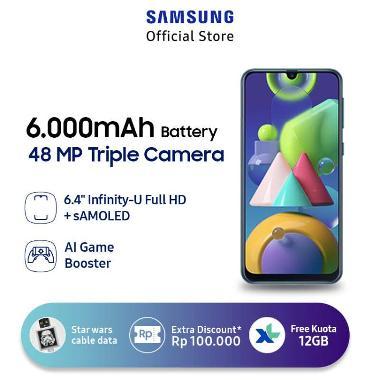 harga Samsung Galaxy M21 Smartphone [4 GB/ 64 GB] + Star Wars R2 - D2 2 in 1 Micro USB & Type C Kabel Data + XL Free Data 12GB/thn + Bonus 4GB* Blue Blibli.com
