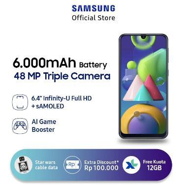 harga Samsung Galaxy M21 Smartphone [4 GB/ 64 GB] + Star Wars Boba Fett 2 in 1 Micro USB & Type C Kabel Data - + XL Free Data 12GB/thn + Bonus 4GB* Black Blibli.com