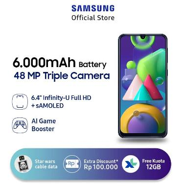 harga Samsung Galaxy M21 Smartphone [4 GB/ 64 GB] + Star Wars Boba Fett 2 in 1 Micro USB & Type C Kabel Data - + XL Free Data 12GB/thn + Bonus 4GB* Green Blibli.com