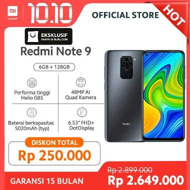 Promo - Xiaomi Redmi Note 9 Smartphone - Black [128 GB/6 GB]