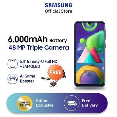 harga Samsung Galaxy M21 Smartphone [4 GB/ 64 GB] + Star Wars Darth Vader 2in1 Micro USB & Type C Kabel Data + XL Free Data 12GB/thn + Bonus 4GB Black Blibli.com
