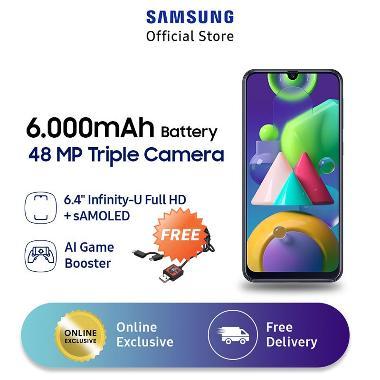 harga Samsung Galaxy M21 Smartphone [4 GB/ 64 GB] + Star Wars Darth Vader 2in1 Micro USB & Type C Kabel Data + XL Free Data 12GB/thn + Bonus 4GB Blue Blibli.com