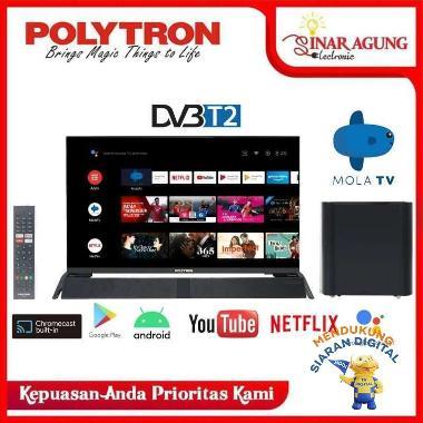 POLYTRON SMART ANDROID DIGITAL TV 32INCH PLD 32BAG9953 + SOUND BAR Unit Only BLACK Seluruh Indonesia