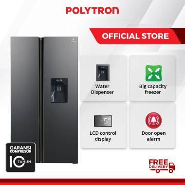 Kulkas POLYTRON New Belleza Inverter 2 pintu Side-by-side PRS 480X 450 liter grey