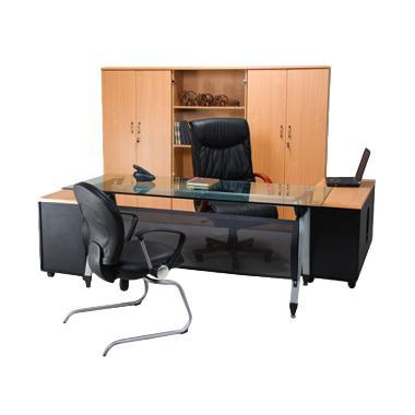 Aditech SE 6002 Meja Kantor Direktur Kaca - Beech