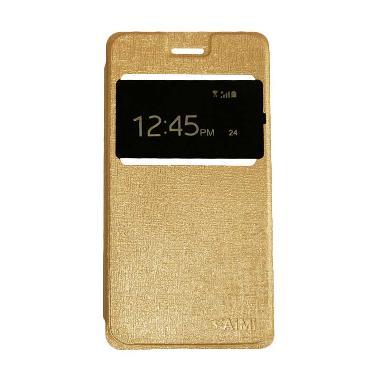 AIMI Flip Cover Casing for Smartfren Andromax A - Gold