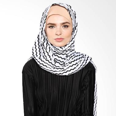 Aira Muslim Buti Monochrome Wave Pashmina AB.P-034 Hijab - White