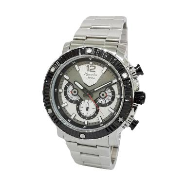 Alexandre Christie 1430071 Chronograph Jam Tangan Pria - Silver Hitam