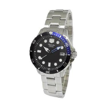 Alexandre Christie AC8439 Silver Black Blue Jam Tangan Pria Original