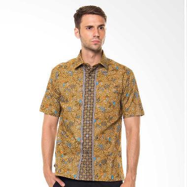 Alisan 2000SF/10124 Batik Pendek Slim Fit Kemeja Pria - Coklat