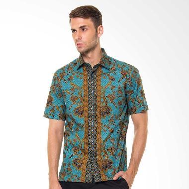 Alisan 2000SF/10133 Batik Pendek Slim Fit Kemeja Pria - Hijau