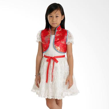 Amour Cheongsam AM3102 White Red Vest / Dress Anak