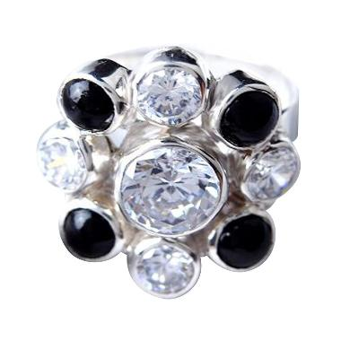 Artistica Jewelry Cincin 4-0265 Silver Asli - Black & White