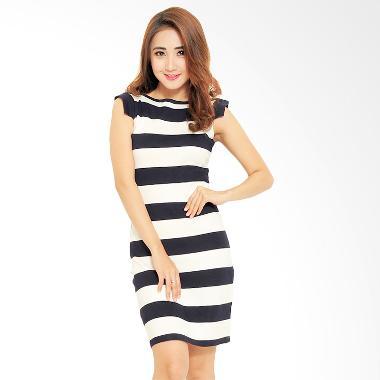 Ayako Fashion Stripe Dress - Black White