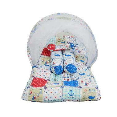 Babybess Kasur Lipat Kelambu Sailor Tempat Tidur Bayi - White Blue