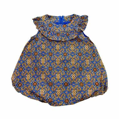 Babylon Estrela Rok Balon Batik Baju Anak Perempuan - Blue