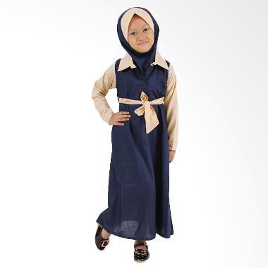 Baju Yuli Baju Muslim Perempuan Semi Formal Gamis Anak - Navy Blue
