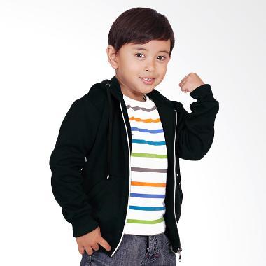 Baju Yuli Jaket Anak Hoodie Zipper Polos Simple dan Elegan - Hitam