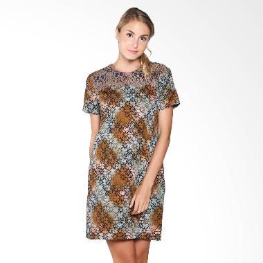 Batik Arjunaweda Woman 28460105 Dobby Kawung Sackdress Batik - Biru
