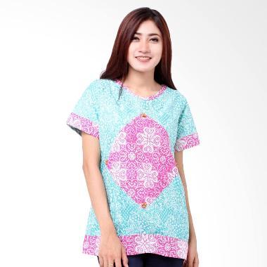 Batik Distro BA6854 Blus Wanita Cap Pola Diamond - Biru