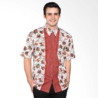 Batik Distro K7791 Motif Pola Tengah Kemeja Pria - Merah