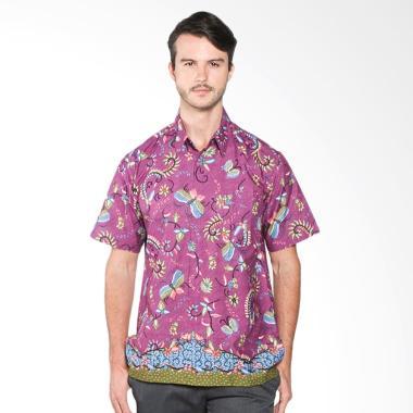 Batik Distro K7864 Motif Kupu Warna Kemeja Pria - Ungu