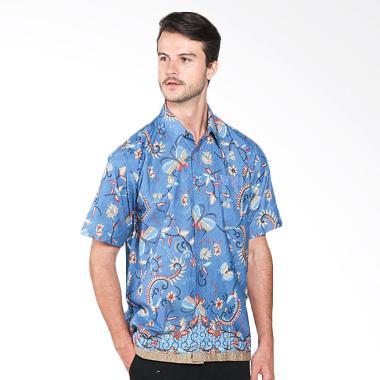 Batik Distro K7867 Motif Kupu Warna Kemeja Pria - Biru