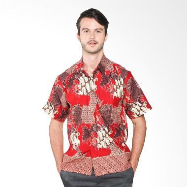 Batik Distro K7871 Motif Mixed Tempel Kemeja Pria - Merah