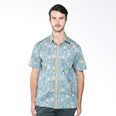 Batik Distro K7874 Motif Jarik Modern Kemeja Pria - Biru