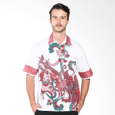 Batik Distro K7885 Doby Putihan Kemeja Pria - Merah