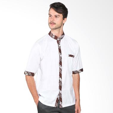 Batik Distro K7894 Motif Jahit Jarik Kemeja Pria - Putih