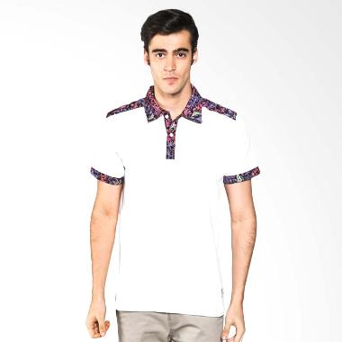 Polo Batik Heritage Full Color Atasan Pria - Putih