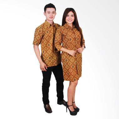 Batik Putri Ayu Solo Batik Sarimbit Dress SRD 34 Baju Batik Couple - Cokelat