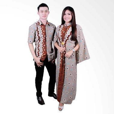 Batik Putri Ayu Solo SRG102 Batik Sarimbit Gamis - Cokelat