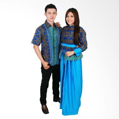 Batik Putri Ayu Solo Sarimbit SRG98 Baju Batik - Biru