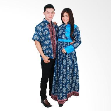 Batik Putri Ayu Solo Sarimbit SRG99 Baju Batik - Biru