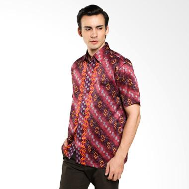 Jual batik waskito short sleeve silk shirt hb 10489 violet for Men s batik bay silk blend button down shirt