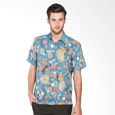 Batik Waskito Short Sleeve Silk Shirt HB 10525 Baju Batik Pria - Blue