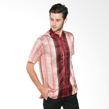 Batik Waskito Short Sleeve Silk Shirt HB B 14584 Baju Batik Pria - Red