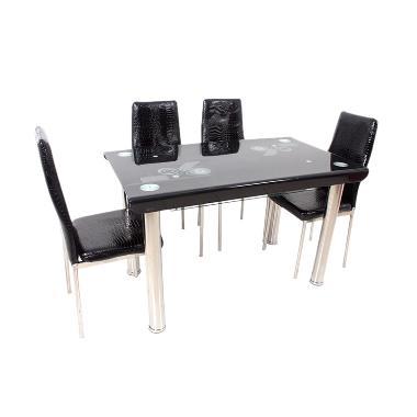 Best Furniture Meja Makan 4503 Dining Set - Hitam