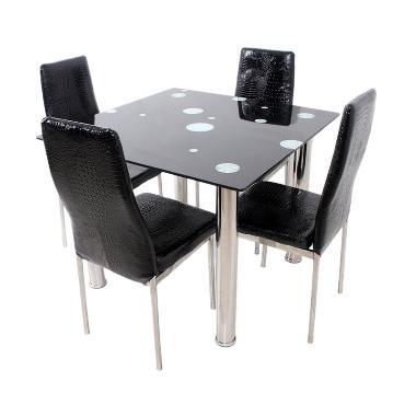 Best Furniture Square Dining Set Meja Makan - Hitam