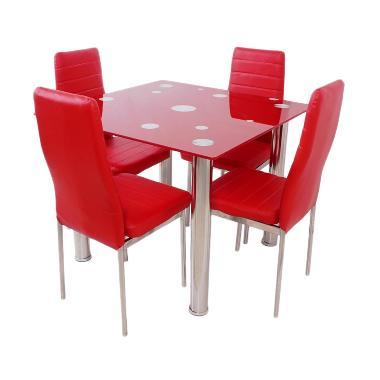 Best Furniture Square Dining Set Meja Makan - Merah