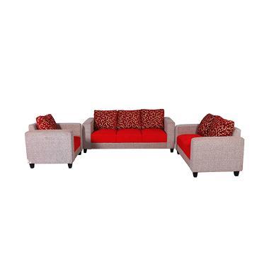 Wellingtonu002639s Sofa Minimalis 321 Merah Bantal Kotak
