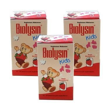 Biolysin Kids Strawberry Multivitamin Anak [3 Pcs/30 Tab]