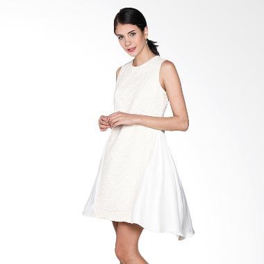 Vanny Gunawan Rajut Depan Satin Dress Wanita - Broken White